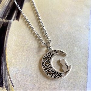 Silver Moon Cat Necklace Chain Boutique Pet Kitten